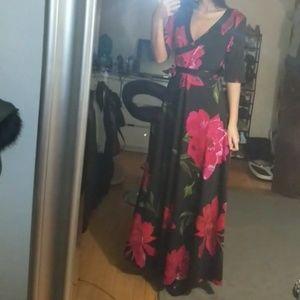 Maxi Length Floral Print Dress